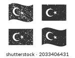 turkey grunge flag set  dark...