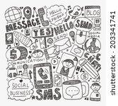 doodle communication background | Shutterstock .eps vector #203341741
