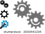 halftone gears rotation. dotted ... | Shutterstock .eps vector #2033441234