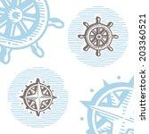 vintage marine symbols vector... | Shutterstock .eps vector #203360521