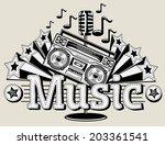 decorative music emblem   Shutterstock .eps vector #203361541