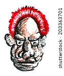old man face with red hair... | Shutterstock .eps vector #203363701
