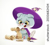 cute cartoon baby cat in the... | Shutterstock .eps vector #2033682434