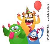 funny cartoon monster... | Shutterstock .eps vector #2033716571