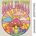 retro 70's psychedelic hippie...   Shutterstock .eps vector #2033731961