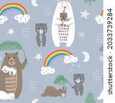 cute seamless pattern with...   Shutterstock .eps vector #2033739284