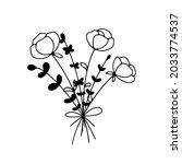 hand drawn line art flower... | Shutterstock .eps vector #2033774537
