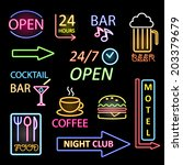 vector neon icon set | Shutterstock .eps vector #203379679