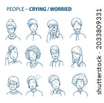 set of various crying  worried...   Shutterstock .eps vector #2033809331