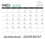 calendar 2022 year. march 2022... | Shutterstock .eps vector #2033928767
