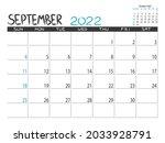 calendar 2022 year. september... | Shutterstock .eps vector #2033928791