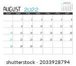 calendar 2022 year. august 2022 ... | Shutterstock .eps vector #2033928794
