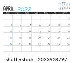 calendar 2022 year. april 2022... | Shutterstock .eps vector #2033928797