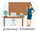 beautiful teacher pointing...   Shutterstock .eps vector #2033966507