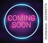 neon coming soon on brickwall...   Shutterstock .eps vector #2033969774