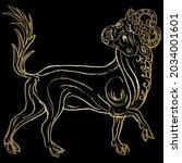 stylized bull or calf. taurus... | Shutterstock .eps vector #2034001601