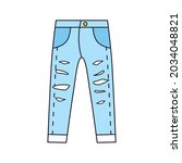 blue ripped jeans pants rolled...   Shutterstock .eps vector #2034048821