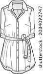 women's rolled sleeve belted...   Shutterstock .eps vector #2034092747