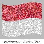 mosaic waving monaco flag... | Shutterstock .eps vector #2034122264