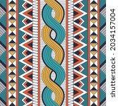 vector of colourful tribal blue ... | Shutterstock .eps vector #2034157004