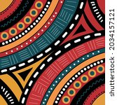 vector of colourful tribal red  ... | Shutterstock .eps vector #2034157121