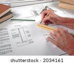 architect and his drawings with ... | Shutterstock . vector #2034161