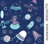 vector of rocket ships  ufos ... | Shutterstock .eps vector #2034161774