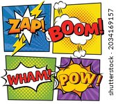 vector of zap  boom  pow text... | Shutterstock .eps vector #2034169157