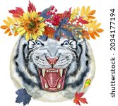 colorful white smiling tiger in ...   Shutterstock . vector #2034177194