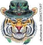 colorful orange smiling tiger...   Shutterstock . vector #2034177197