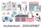 warehouse with packages in...   Shutterstock .eps vector #2034189887