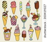 cute set of ice creams. | Shutterstock .eps vector #203419327