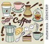 hand drawn coffee set | Shutterstock .eps vector #203419339