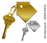 set of house keys on key chains | Shutterstock .eps vector #203419651