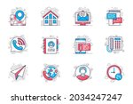 contact us concept flat line... | Shutterstock .eps vector #2034247247