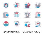 fitness concept flat line icons ... | Shutterstock .eps vector #2034247277