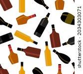 alcohol bottle seamless pattern ...   Shutterstock .eps vector #2034303071