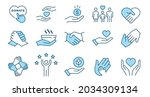 charity line icon set.... | Shutterstock .eps vector #2034309134