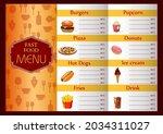 fast food menu template ... | Shutterstock .eps vector #2034311027