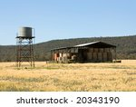 a hay shed and water tank on a...   Shutterstock . vector #20343190