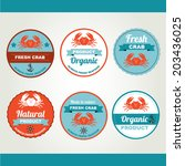 set of seafood icons. retro... | Shutterstock .eps vector #203436025