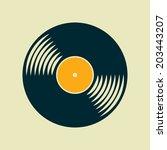 retro vinyl record flat icon | Shutterstock . vector #203443207