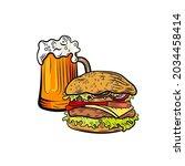 vector beer mug with burger ... | Shutterstock .eps vector #2034458414