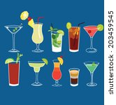 alcohol cocktail drinks vector... | Shutterstock .eps vector #203459545