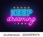 keep dreaming neon lettering on ... | Shutterstock .eps vector #2034599474