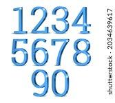 blue 3d numbers. symbol set.... | Shutterstock .eps vector #2034639617