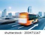 Driving Bus In City Traffic In...