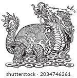 dragon turtle tortoise sitting... | Shutterstock .eps vector #2034746261
