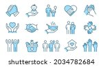 charity line icon set.... | Shutterstock .eps vector #2034782684