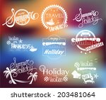 group of summer labels on... | Shutterstock .eps vector #203481064